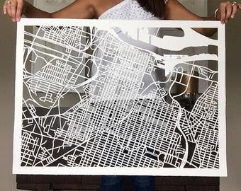 savannah hand cut map ORIGINAL