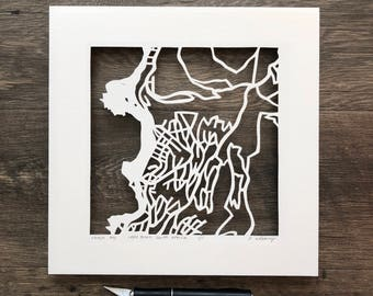 Cape Town, Sydney, or Auckland hand cut map ORIGINAL , 10x10.