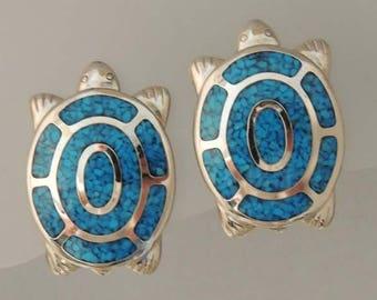 TRIFARI Vintage Turtle Earrings / Trifari Turquoise Turtle Earrings / Southwest Style Silver and Turquoise Turtle Earrings / Turtle Jewelry