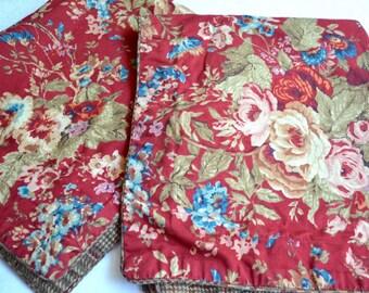 Ralph Lauren Chaps Pillow Shams - Red Cottage Floral - Standard Size Pair