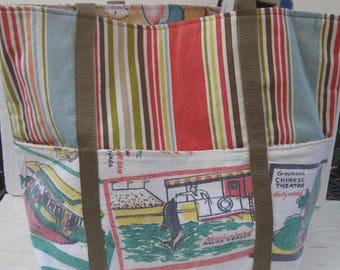 Vintage California Trimmed Market Bag / California Scenes Large Tote