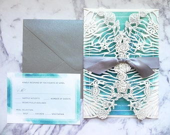 Aqua Watercolor Seashells Laser Cut Invitation Suite for Beach Wedding - Laser Cut Gate Fold, Insert Card, RSVP Card, and Envelopes