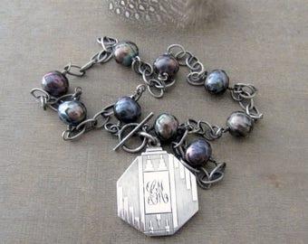 VACATION SALE Sterling Silver Locket Necklace, Art Deco Locket, Vintage Locket, Picture Locket, Unique Locket, Pearl Locket, Push Gift Silve