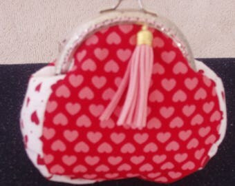 Coin Purse,Purse,Pouch,Wallet,Pocketbook,Handbag,Handcrafted,Silver Frame,Quality Cotton, Hearts and Tassel