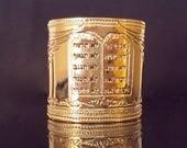 4 WEEKS - Ten Commandments Gold cuff bracelet, Hebrew jewelry, gold jewelry, gold bracelet, Cuff bracelet, Modern jewelry