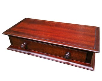 1 Drawer Low Monitor stand in Dark Mahogany