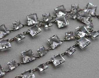 RARE Art Deco PLATININ Open Back Paste Necklace / Antique Bridal Jewelry / Gatsby Crystal Choker
