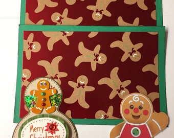 Premade CHRISTMAS Gingerbread Man Paper Piecing Photo Mat Set For Scrapbook Album Page