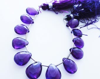 Amethyst Gemstone Faceted Briolettes Qty 12 Matched Pairs