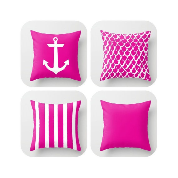 OUTDOOR Throw Pillow . Magenta Mermaid Pillow . Coastal Patio Cushion . Anchor Pillow . Stripe Pillow . 16 18 20 inch  Pink Lumbar Pillow