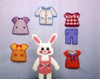 Plastic Canvas My Cut Out Bunny Doll Dress Top Denim Pants Rabbit in Pink Body Suit Needlepoint Embroidery Craft Pattern Leaflet 116