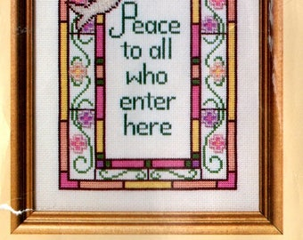 Peace to All Who Enter Here Kit Stained Glass Border Dove Counted Cross Stitch Embroidery Craft Pattern