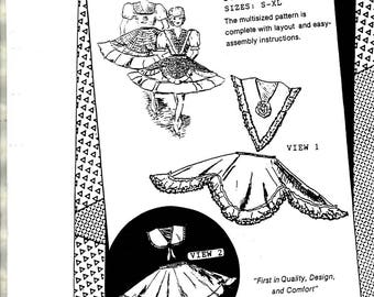 Collar Overskirt Dressy V-Neck Square Collar Scalloped Over Skirts Adult Women Size Small Medium Large Extra Sewing Craft Pattern No. 560
