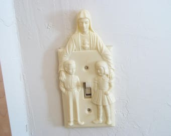 Religious Light Switch Cover Mary with Little Boy and Girl by Hartland Plastics
