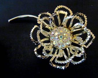 "Vintage Sarah Coventry 1968 ""Allusion"" AB Rhinestone Flower Pin"