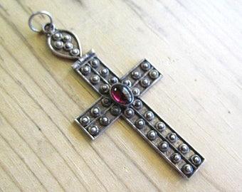 Vintage Sterling Silver & Garnet Cross Pendant