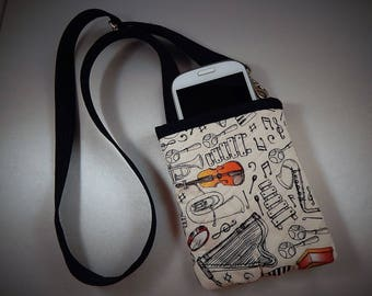 Open Top Pocket Easy Reach Cell Phone  Music Quilted  Lanyard Wallet Organizer Tote