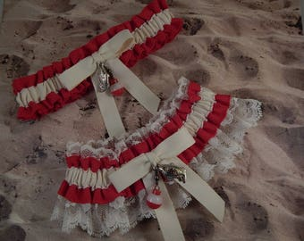 Fishing Red Linen Look Ivory Twill Ivory lace Fish Bobber Charm Wedding Bridal Garter Toss Set
