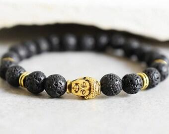 Buddha bracelet with Lava Stones