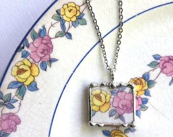 Yellow rose, pink rose porcelain necklace pendant, made from a broken plate, recycled china, broken china jewelry, upcycled china