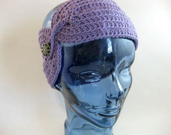 Crochet Ear Warmer, Cotton Ear Warmer, Crochet Headband, Winter Wear, Cold Weather Wear, Purple Headband, Woman Wear