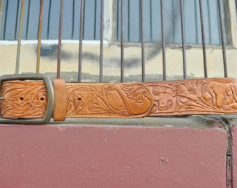 Vintage Tooled Leather Belt Erotic Mature Sexual Positions