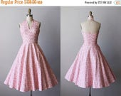 VACATION SALE 50s Dress - 1950s Vintage Dress - Candy Pink Floral Embroidered Halter Circle Skirt Cotton Party Sundress XS S - Jerry Gilden