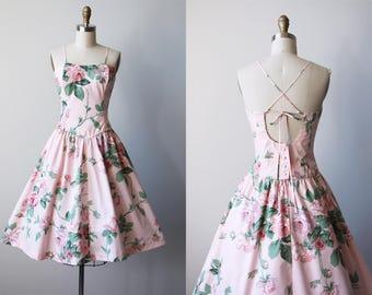 80s Dress - Vintage 1980s Dress - Blush Pink Rose Print Cotton Sundress w Lace Up Open Back S - Sunshine Starshine Dress