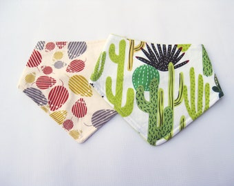 Sale Size 0-9 months Bandana Bib Duo in Cactus and Mouse / Baby Gift Ready to Ship