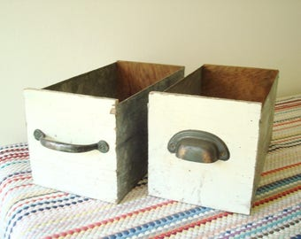 Vintage handmade storage bins, wood, metal and chippy paint with drawer pulls, 2 rustic storage boxes for crafts, sewing, hobbies or office