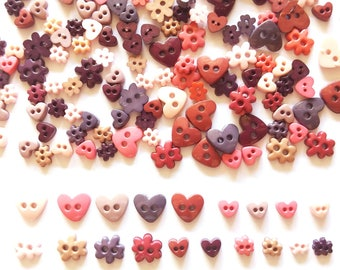 100 pcs Mix heart buttons & Flower Buttons Size 6mm 10mm Earth Tone