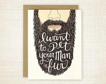 Anniversary Card, Beard Card, Love Card - Man Fur