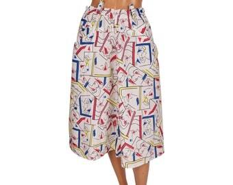 Vintage 1980s Novelty Print Cotton Skirt - Faces Print - M