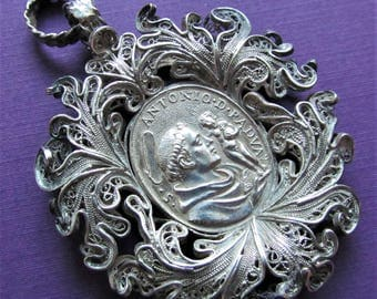 Saint Anthony Of Padua St Francis Silver Filigree Antique Religious Medal Pendant Circa 1700