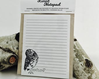 Who? Burrowing Owl lined Notepad