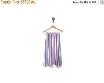 30% OFF Vintage 80s Preppy Pastel Striped A Line Secretary Knee Length Skirt women xs s vestiesteam indie boho hipster pink purple gray vert