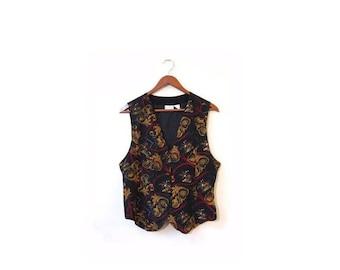 30% OFF Vintage 90s Silk EQUESTRIAN Button Up Vest  s m