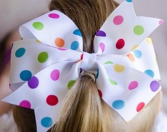 Hair Bow - Polka Dot Print Pinwheel Hair Bow, Girls Hair Bow, Baby Hair Bow