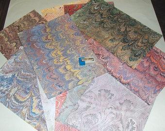 pack 12, ebru  marbled paper,,マーブル紙,   marmorpapier. scrapbook  paper, -  cm 25 x 17,35  -  5995
