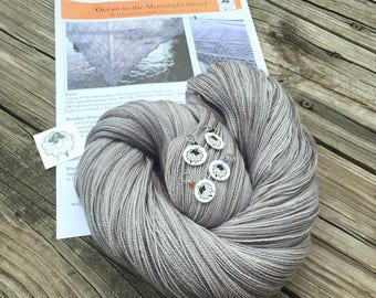 Ocean In the Moonlight Shawl KIT KAL Pieces of Eight Silk Treasures Lace Yarn Pattern Stitch Markers silver gray grey merino silk yarn
