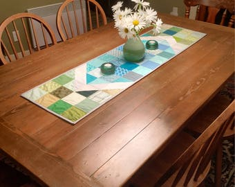 Quilted Modern Patchwork Table Runner (Free US shipping)