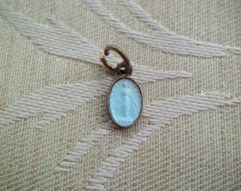Tiny Vintage Blue Enamel Religious Miraculous Medal Pendant Charm Wrist Watch Medal