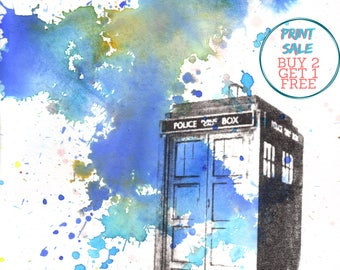 Doctor Who Tardis Poster Print from Original Watercolor Painting - 13 x 19 in. Doctor Who Art poster print room decor