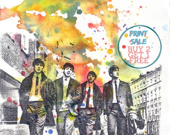 The Beatles Watercolor Painting Poster Print - Fine Art print 13 x 19 in.