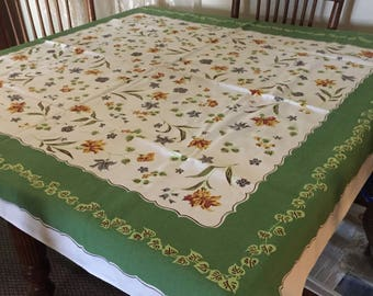 Mid Century Simtex Tablecloth - Lovely Floral Design