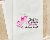 3 PAK UNICORN Birthday Party Favor Bags / 5x7 / Candy Popcorn Cookie Gift Bags / Pink / Girl Personalized Custom / 3 Day Ship