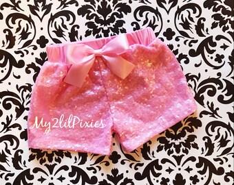 Sparkle Shorts, PINK SHORTS, Birthday Shorts, Baby Sequin SHORTS- girls birthday- girls sequin shorts-infant shorts- toddler sequin shorts
