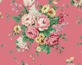 Ruru English Rose Garden  Cotton Fabric Rose ru2310-11d Roses on dark pink