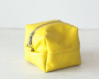 Yellow leather cosmetic bag, makeup case dopp kit accessory bag utility bag travel jewelry case toiletry bag-Cube
