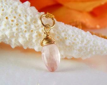 Rose Quartz Charm ~ Pink Stone Charm ~ Add a Charm ~ Add a Dangle ~ Pink Dangle - AdoniaJewelry